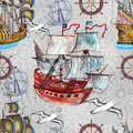 Seamless background with old sailing ships, marine symbols and gulls