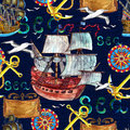 Seamless background with old ships, anchor, compass and gulls