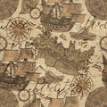 Seamless background with old ships and pirate map elements in sepia tone