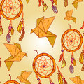 Seamless background with origami and dream catchers Royalty Free Stock Photos