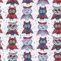 Seamless background with owls blue red gray brown.