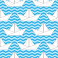 Seamless background with paper boats on the waves for textiles interior design for book design website Stock Photos