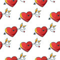 Seamless background pattern with beautiful red hearts pierced by