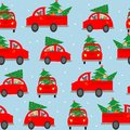 Seamless background, pattern. The car carries a Christmas tree to decorate the house. Set car on a blue background. Colorful vecto Royalty Free Stock Photo