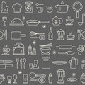 Seamless background pattern Cooking Kitchen utensil icons set Royalty Free Stock Photo
