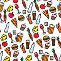 Seamless background pattern with food and drinks Stock Photos