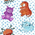 A seamless background pattern of happy, floating, cartoon, vector aliens