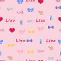 Seamless background pattern name liza of the newborn baby vector girl Stock Photography