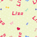 Seamless background pattern name liza of the newborn baby vector girl Stock Images