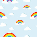 Seamless background pattern with paper rainbows Royalty Free Stock Images