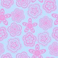Seamless background pattern pink lace flowers Stock Photos