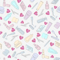 Seamless background pattern randomly arranged cosmetics beauty products interspersed pink hearts white background Stock Photo