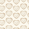 Seamless background pattern of sketched outlines of heart shapes arranged in repeat rows on a white background Stock Photography