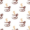 Seamless background pattern of steaming coffee a cup and saucer in a brown and white doodle sketch with a repeat motif in Stock Photos
