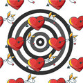 Seamless background pattern with a target of red hearts pierced