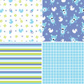 Seamless background patterns in blue and green set of four retro style for boys Royalty Free Stock Images