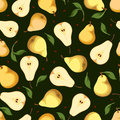 Seamless background with pears vector illustration pattern and leaves on a green Royalty Free Stock Photo