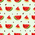Seamless background with a piece of juicy watermelon in low poly style