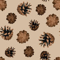Seamless background with pine cones. Stock Photos