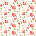 Seamless background with pink apples leaves and seeds Royalty Free Stock Image
