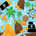 Seamless background pirate island colorful kids retro pattern. Royalty Free Stock Photo