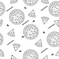 Seamless Background With Pizza Pattern Vector