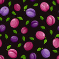 Seamless background with plums. Vector illustration. Royalty Free Stock Photo