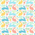 Seamless background with with rabbit silhouette and herb, plant. flower. Easter wallpaper for invitation and decoratio