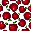 Seamless background with red glossy apples and leaves green on a white Stock Photos