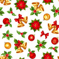 Seamless background with red and gold Christmas decorations. Vector illustration. Royalty Free Stock Photo