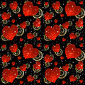 Seamless background with red hearts and stars pattern on a black Stock Photography