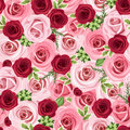 Seamless background with red and pink roses leaves Stock Photo