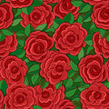 Seamless background with red roses and leaves. Royalty Free Stock Photography
