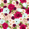Seamless background with red, white and blue flowers. Vector illustration. Royalty Free Stock Photo