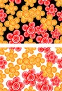 Seamless background with red and yellow flowers in two color variants Stock Image
