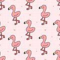 Cute flamingo Seamless Pattern Background