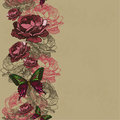 Seamless background with ribbon roses and butterflies vector il Stock Photos