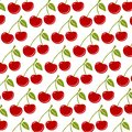 Seamless background with ripe red cherries