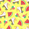 Seamless background with rollers, watermelon and ice cream. A simple pattern. Vector. Summer time. Holidays.