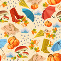 Seamless background with rubber boots, mushroom, umbrella, cloud, rain, leaf, maple, pumpkin, scarf on beige background. Season of