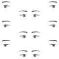 Seamless background with sad eyes, endless eye pattern