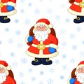 Seamless background, Santa Claus and snowflakes Stock Photography