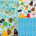 4 Seamless background set of pirate island colorful kids retro pattern Royalty Free Stock Photo