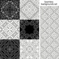 Seamless background set. Vintage geometric textures. Lace pattern. Decorative background for card, web design and etc.