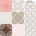 Seamless background set. Vintage geometric textures. Lace pattern. Royalty Free Stock Photo