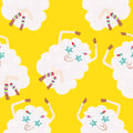 Seamless background with sheep hippies vector background Stock Photo