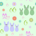 Seamless background with silhouettes of Easter bunnies