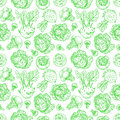 Seamless background of sketch cabbages