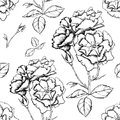 Seamless background with sketch style flowers