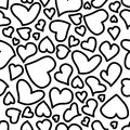 Seamless background with sketchy hearts eps Royalty Free Stock Photo